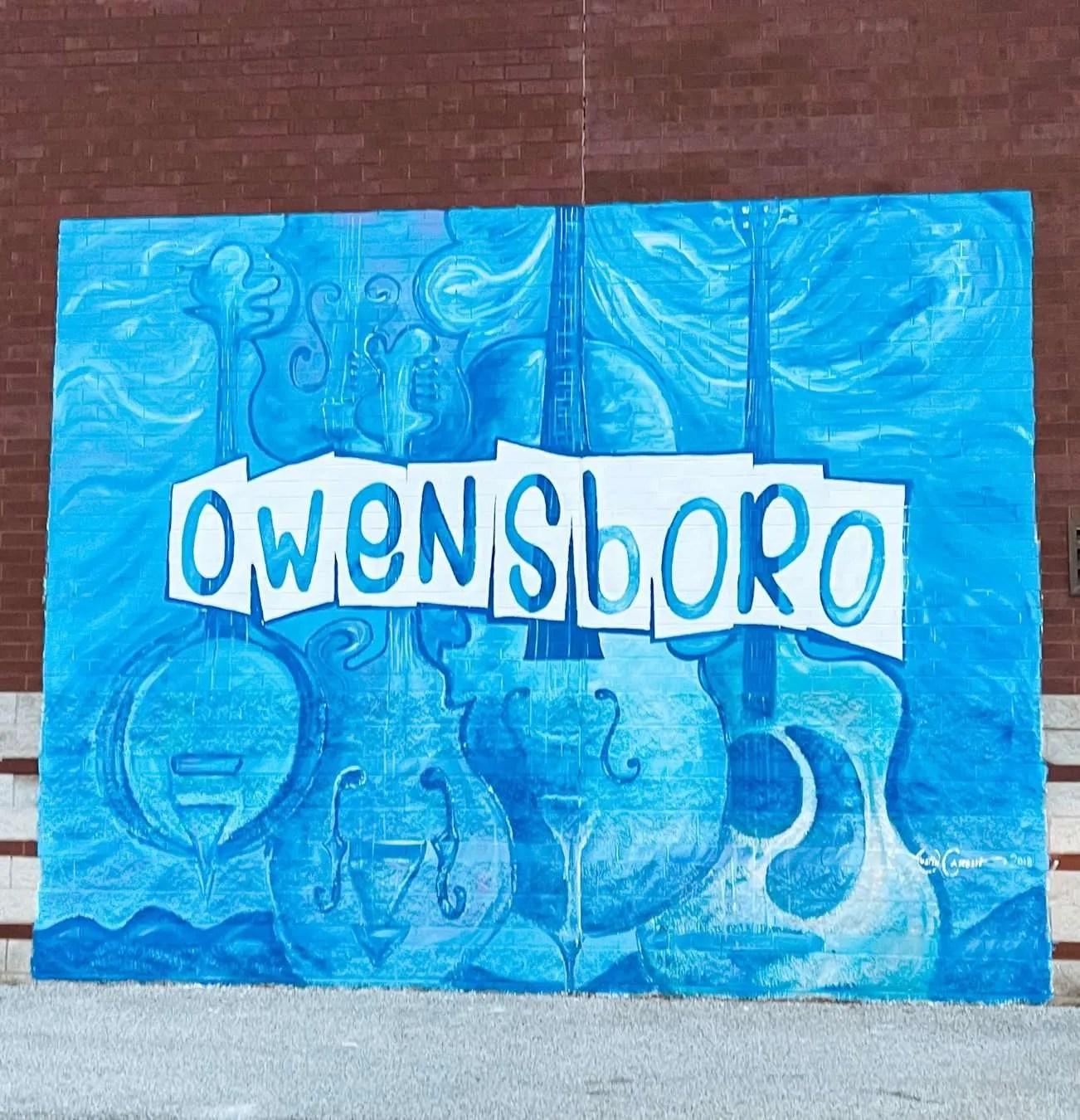 Owensboro blue musical instruments mural in owensboro kentucky, Weather in owensboro, restaurants in owensboro ky, things to do in owensboro kentucky, free things to do in owensboro ky