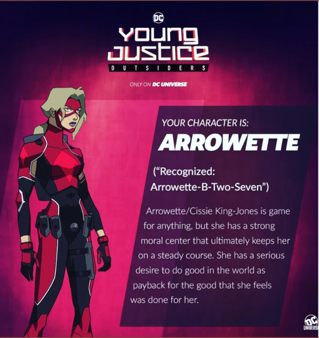 young justice outsiders arrowette cissie king-jones new character