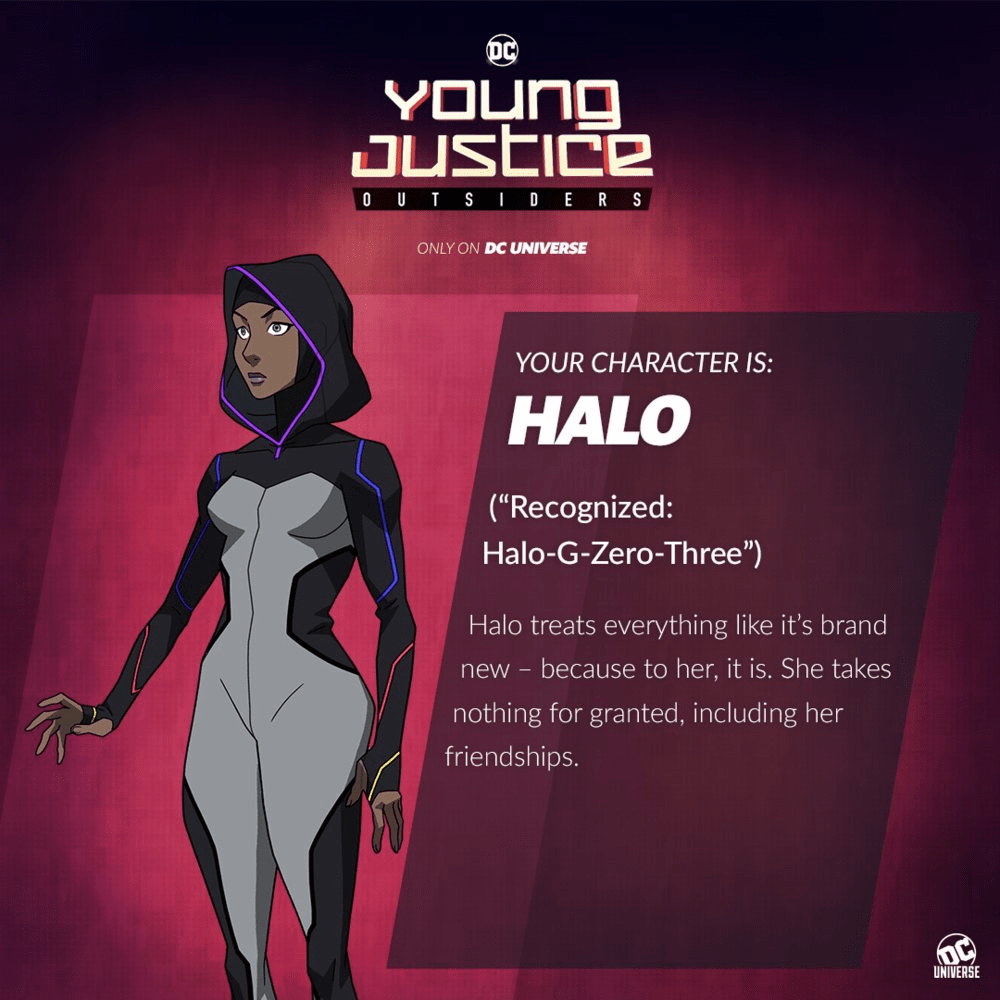 young justice outsiders halo new character