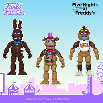 funko fair day 3 toy fair 2021 sports and games five nights at freddy's FNAF action figures chocolate bonnie freddy chica