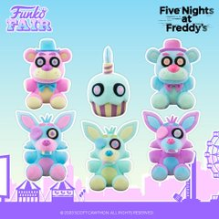 funko fair day 3 toy fair 2021 sports and games five nights at freddy's FNAF pop plush cupcake freddy foxy pink blue green purple spring colorway