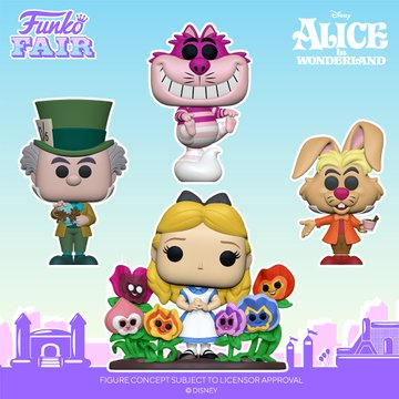 funko fair day 8 toy fair 2021 disney alice in wonderland 70th anniversary pop deluxe mad hatter cheshire cat translucent march hare flowers