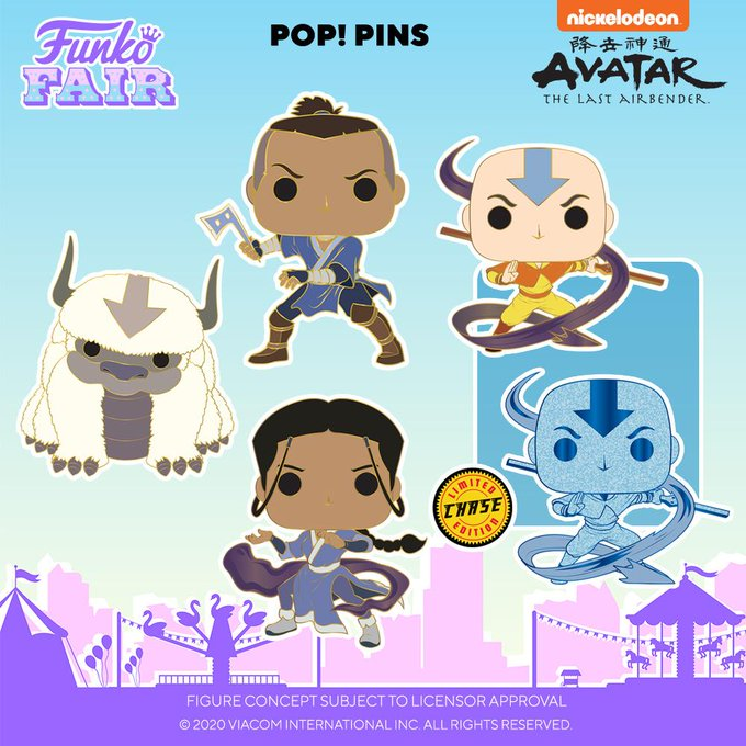 funko fair day 7 animation toy fair 2021 avatar the last airbender sokka katara appa aang with chance of chase pop pin
