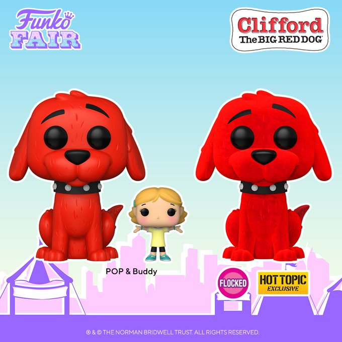 funko fair day 7 animation toy fair 2021 clifford the big red dog with emily elizabeth pop and buddy flocked hot topic exclusive