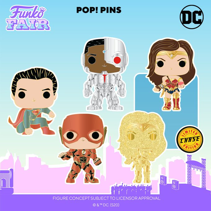 funko fair day 9 toy fair 2021 dc comics and music justice league pop pin chance of gold glitter chase superman cyborg the flash wonder woman