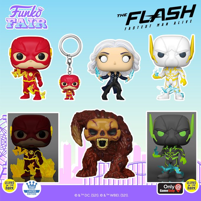 funko fair day 9 toy fair 2021 dc comics and music the flash killer frost bloodwork godspeed glow in the dark pocket pop keychain shop gamestop exclusive