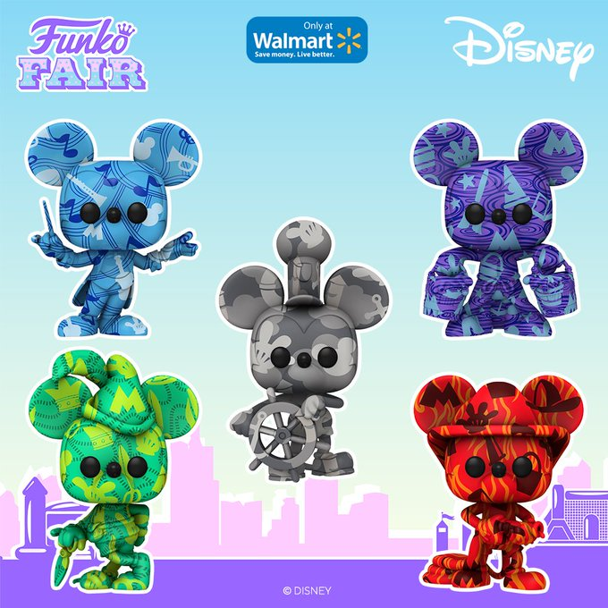 funko fair day 8 toy fair 2021 disney mickey mouse artists art series pop walmart exclusive conductor apprentice steamboat willie fireman brave little tailor