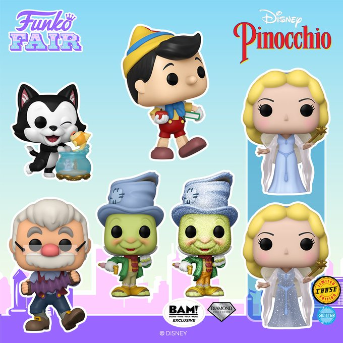 funko fair day 8 toy fair 2021 disney pinocchio figaro geppetto jiminy diamond collection blue fairy glitter chase chance of BAM books a million exclusive