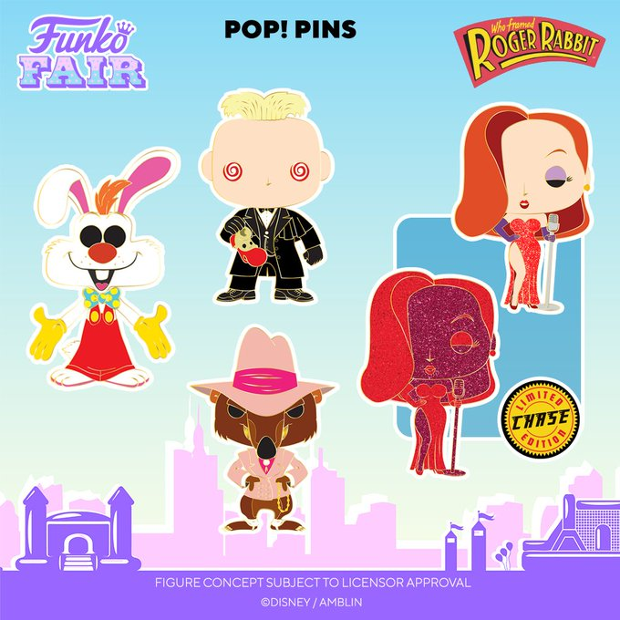 funko fair day 8 toy fair 2021 disney who framed roger rabbit pop pin judge doom jessica chance of red glitter chase smarty weasel