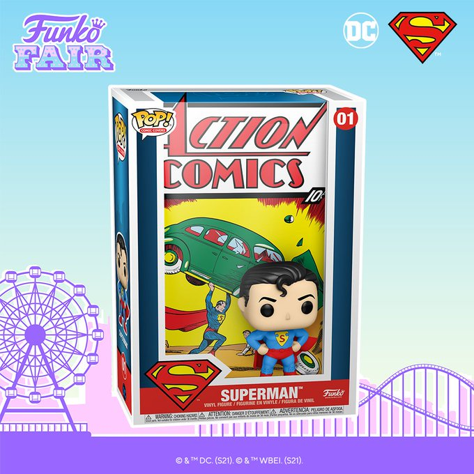 funko fair day 9 toy fair 2021 dc comics and music superman first appearance action comics pop comic cover