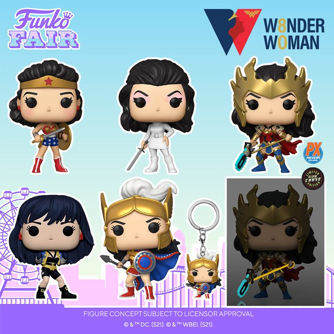 funko fair day 9 toy fair 2021 dc comics and music wonder woman 80th anniversary 80 year golden age ultra mod secret agent death metal contest challenge of the gods previews exclusive chance of glow in the dark chase pocket pop keychain