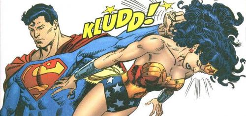 Superman hits Wonder Woman