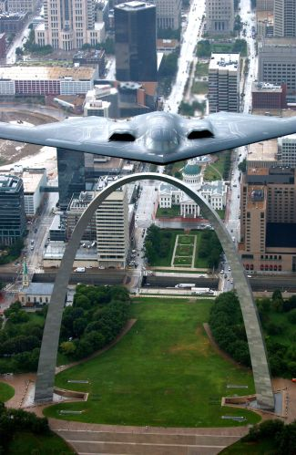 Gateway Arch and B2 Bomber