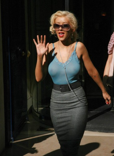 christina aguilera  see through top