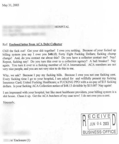 Re - Enclosed letter from ACA Debt Collector