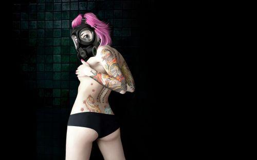 Inked gas mask girl