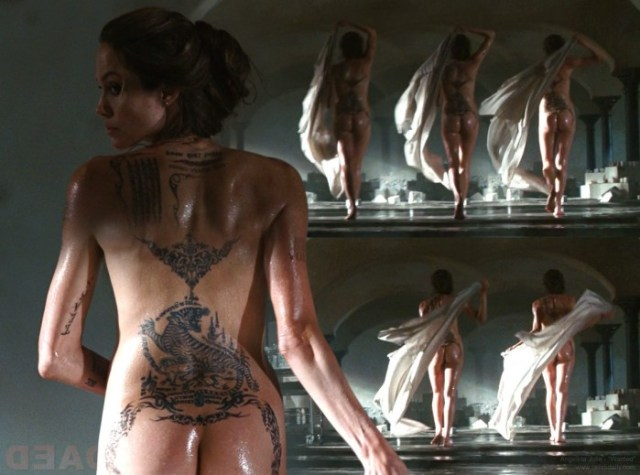 angelina jolie's tattooed ass