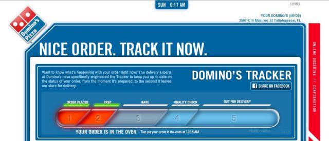 dominos pizza order status screen