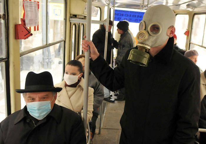 gasmask bus riders