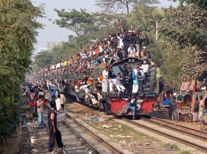 overloaded train