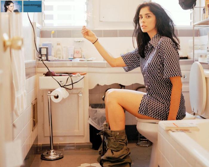 Sarah on the toilet