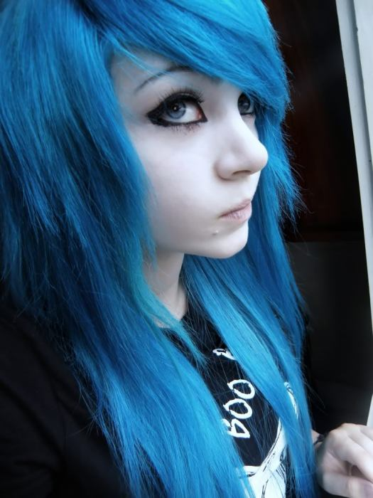 blue hair person