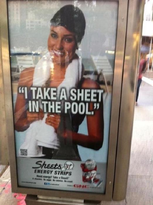 I take a sheet in the pool