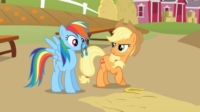 applejack and rainbow dash play horse shoes