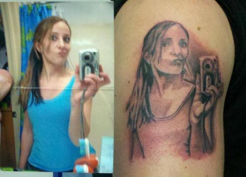 camera phone tattoo