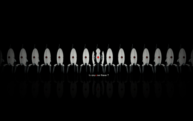 Is anyone there - Portal Turret Wallpaper.png
