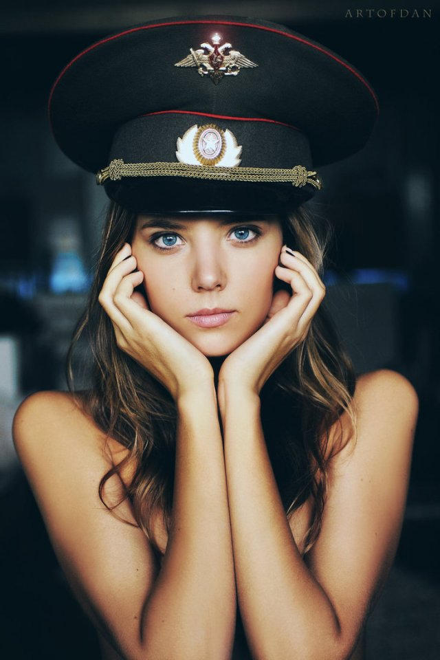 Girl in a military hat.jpg