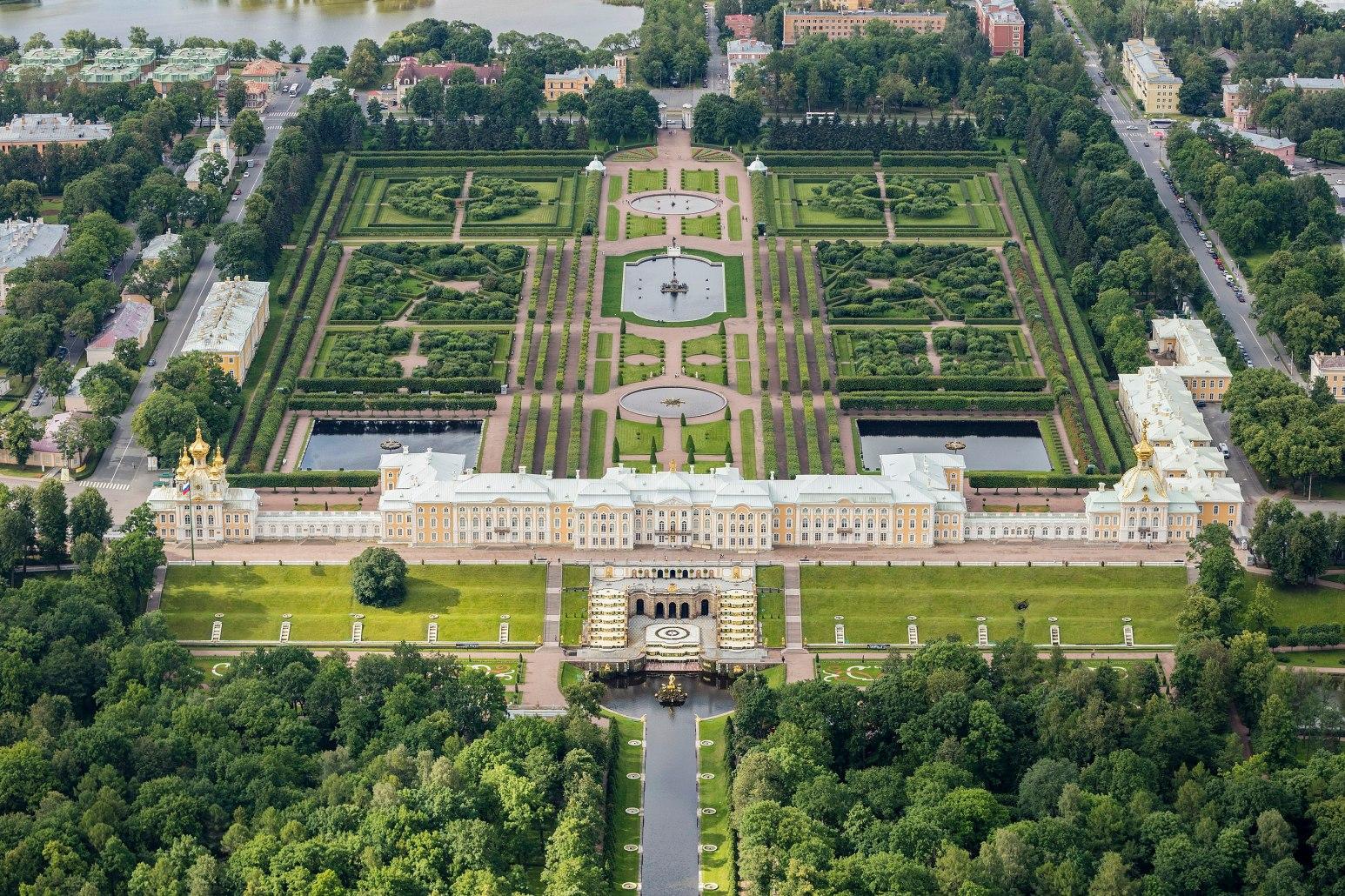 Aerial photo of Peterhof Palace in Saint Petersburg Russia
