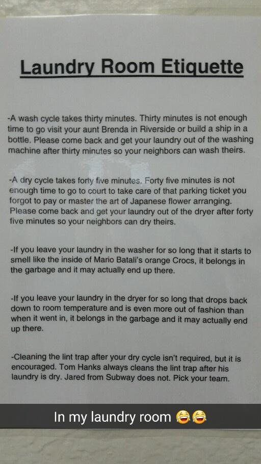 laundry room etiquette