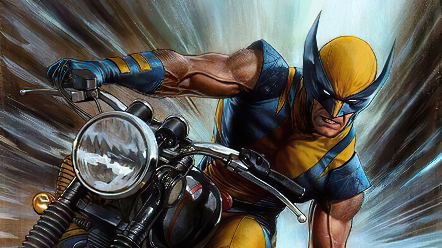 Wolverine on a motorcycle