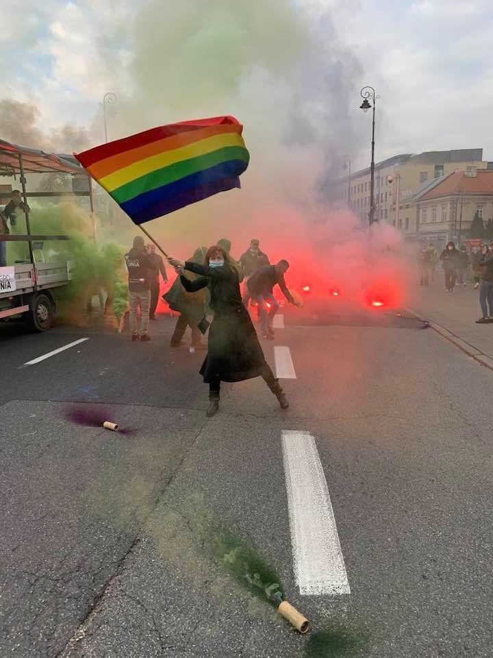 Woman protesting in Poland