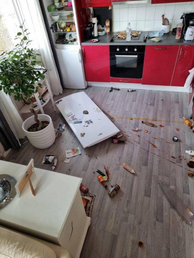 kitchen door on the floor