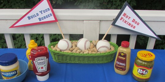 Pennant Signs for the Burger/Hot Dog table - I did several baskets with the peanuts & baseballs for other tables also.