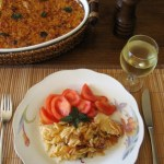 Гювеч (γιουβέτσι) с орзо и бейби калмари