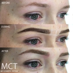 Three stages of the brow tattoo process. Before, during and after Brow feather stroke tattoo.