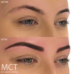 Before & Immediately After Powder Finish Brow Tattoo
