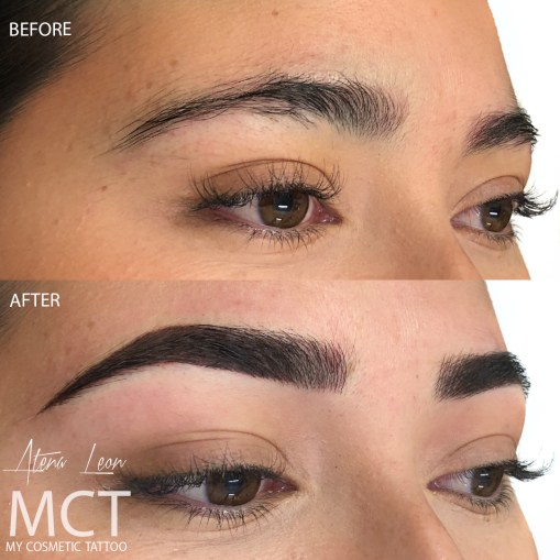 Hybrid Brow Tattooing- Combination of feathering and powder finish