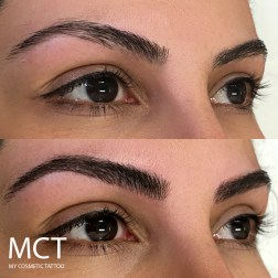 Before and after filling in sparse brows with 3D har stroke tattoo.