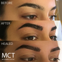 Before and Immediately After and HealedEye Brow Feathering Tattoo