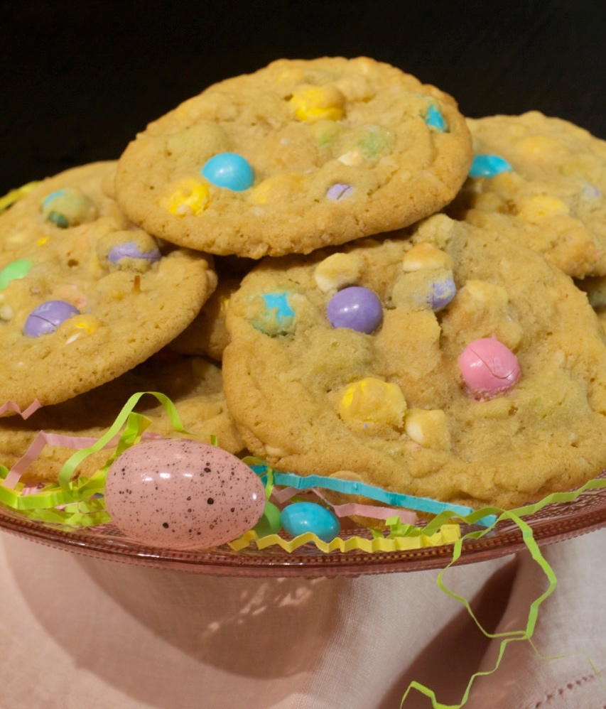 White Chocolate M&M Coconut Easter Cookies