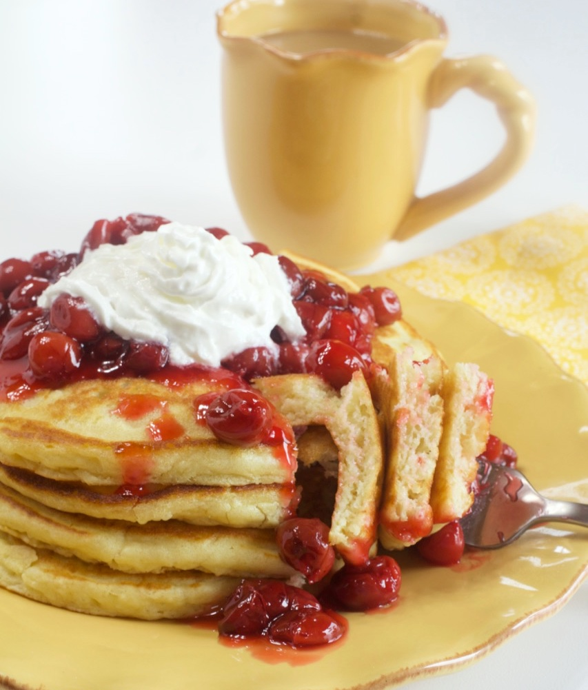 Buttermilk Pancakes With Cherry Compote