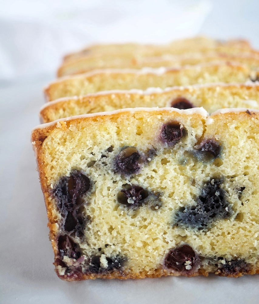 Blueberry Lemon Bread with Lemon Glaze