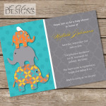 Teal and Orange Elephants