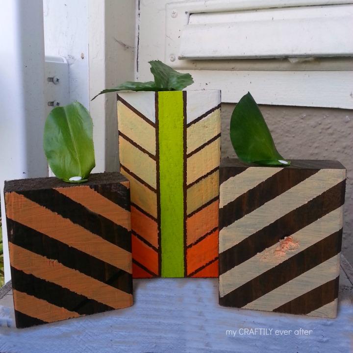 easy wooden geometric pumpkins