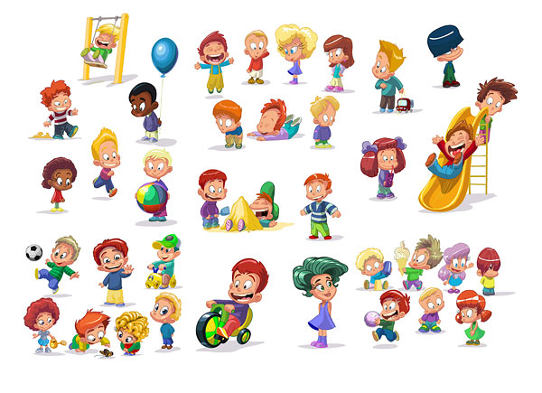 Cartoon children clip art vector
