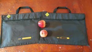 school bags and apples ready for school